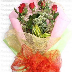 6 stem red roses